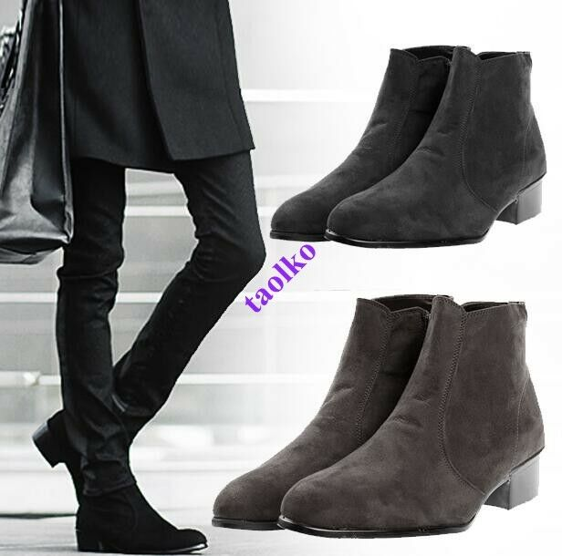Men's Korean Zip Ankle Boots Low Chunky High Top Casual Pointed Toe Casual shoes