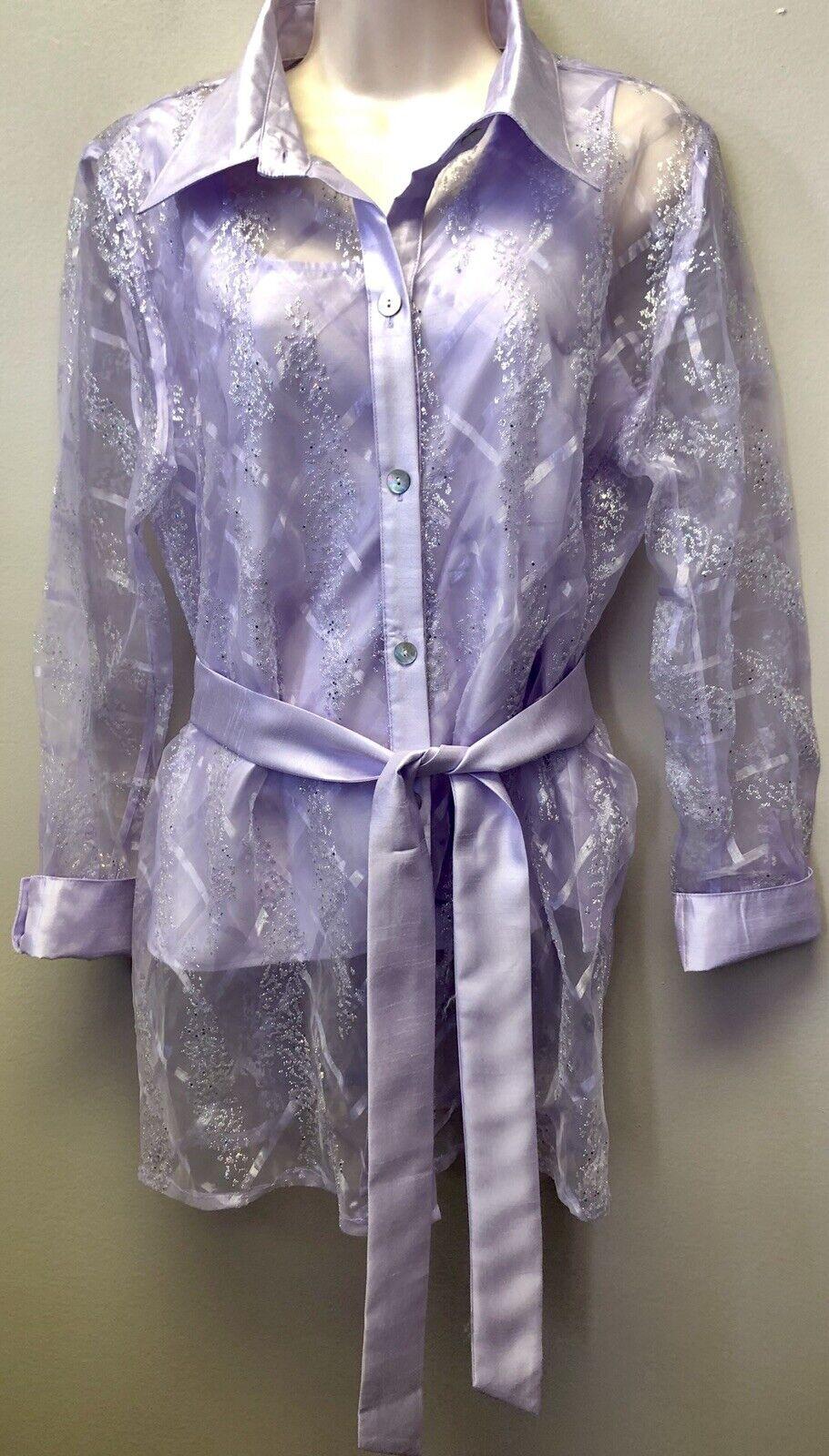 NWOT Simonton Says Womens M Purple Glittered Sparkle Button Down Blouse Set