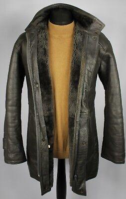 Tipo In Finta Pelle Shearling Cappotto Giacca Grigio Vegan Uk 38/40 Dl011-mostra Il Titolo Originale