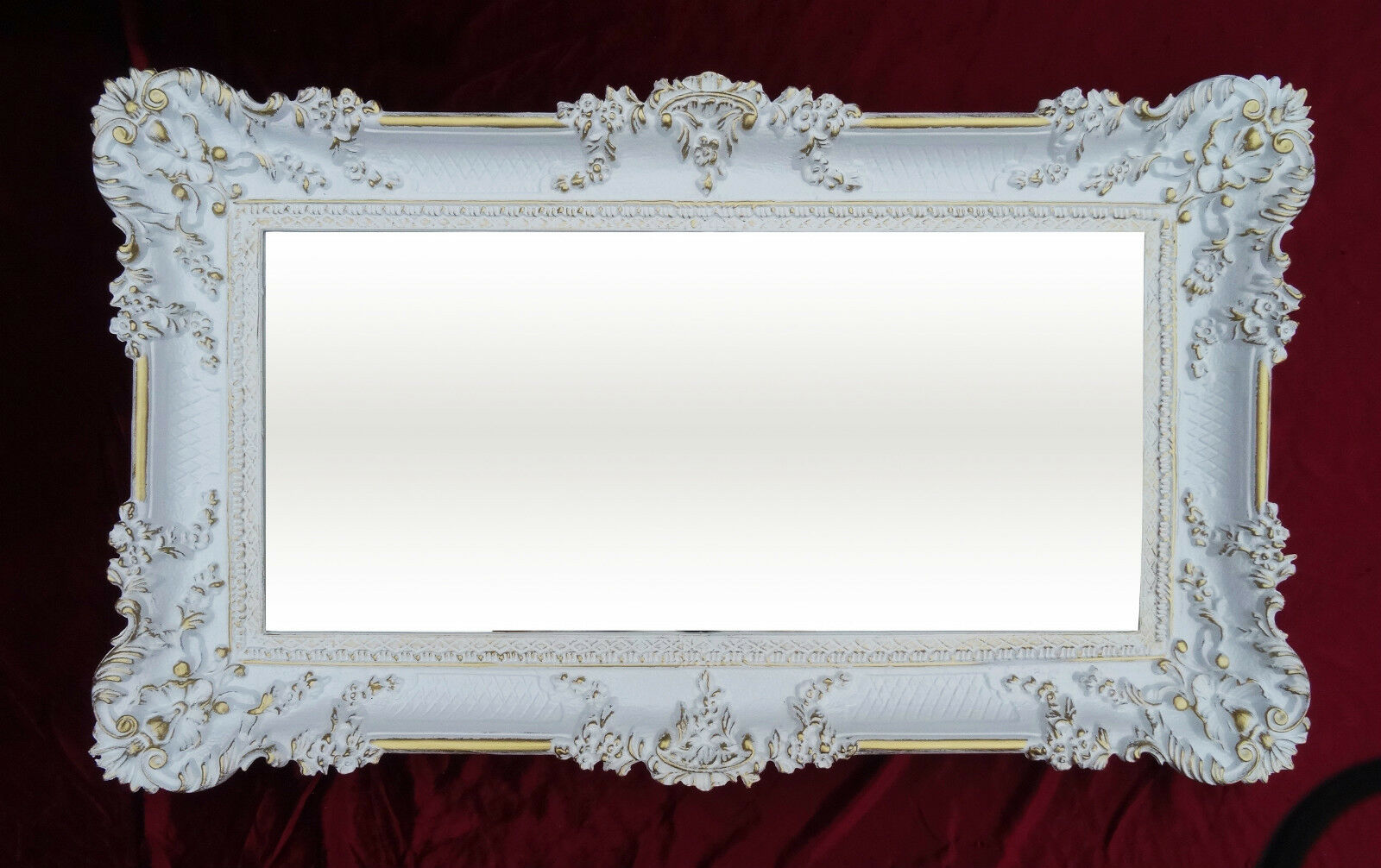 Miroir mural rectangulaire or blanc double baroque for Miroir baroque noir rectangulaire