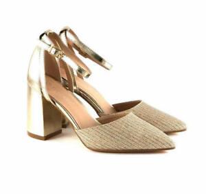 Scarpe-donna-decolte-a-punta-scarpe-aperte-decollete-tacco-comodo-largo-glitter