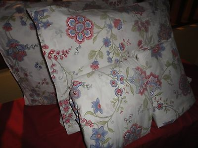 VERMONT COUNTRY STORE COUNTRY JACOBEAN FLORAL BLUE PINK (4PC) QUEEN SHEET SET