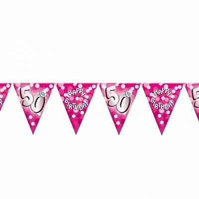 Party Pink Girl Happy Birthday 50 50th 4m Flag Bunting Garland Decoration 400212