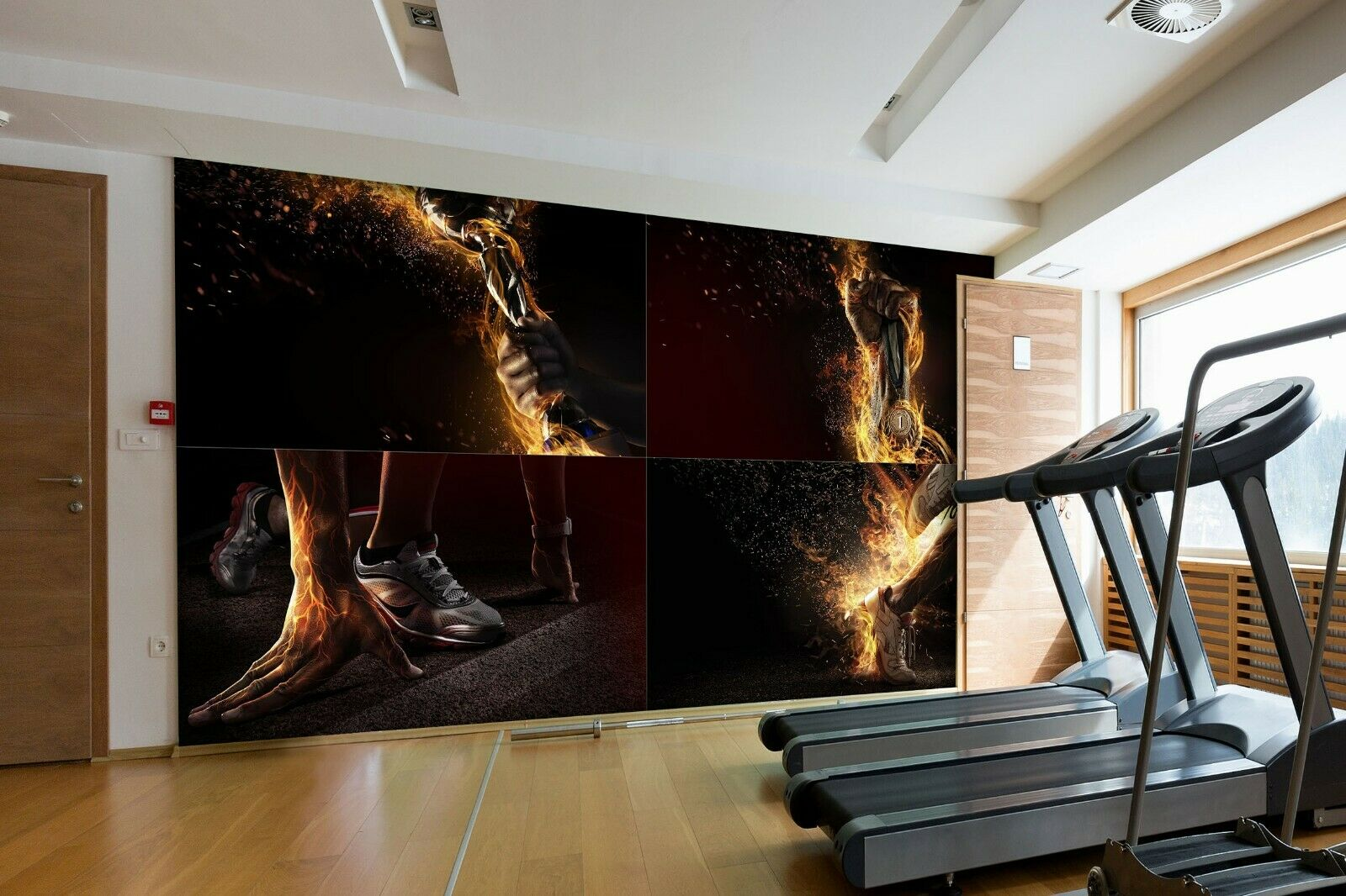 3D Fitness schuhe R52 Business Wallpaper Wall Mural Self-adhesive Commerce An