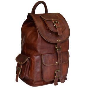Genuine-Goat-Leather-School-Bag-Rucksack-Backpack-Luggage-Hiking-Camping-Travel