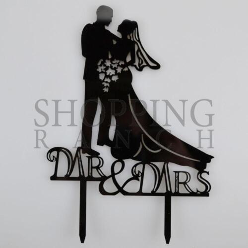 Wedding Cake Bride /& Groom Topper Mr /& Mrs Holding Fowers Black Acrylic