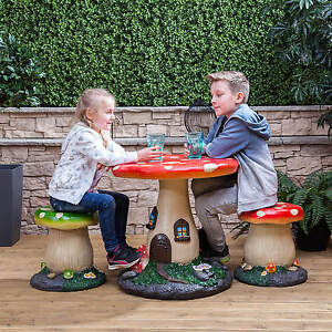 Image is loading Kids-Mushroom-Outdoor-Garden-Patio-Table-&-Stools-  sc 1 st  eBay & Kids Mushroom Outdoor Garden Patio Table u0026 Stools Furniture Set for ...