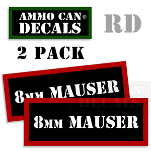 Details about 8MM MAUSER Ammo Can Stickers Ammunition Gun Case Labels  Decals 2 pack RED 3