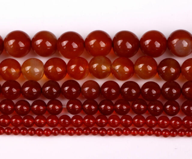Charm Red Carnelian Natural Agate Gemstone Round Beads For Craft,6 Sizes