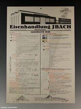 Plakat Eisenhandlung IBACH Lagerliste Remscheid um 1949