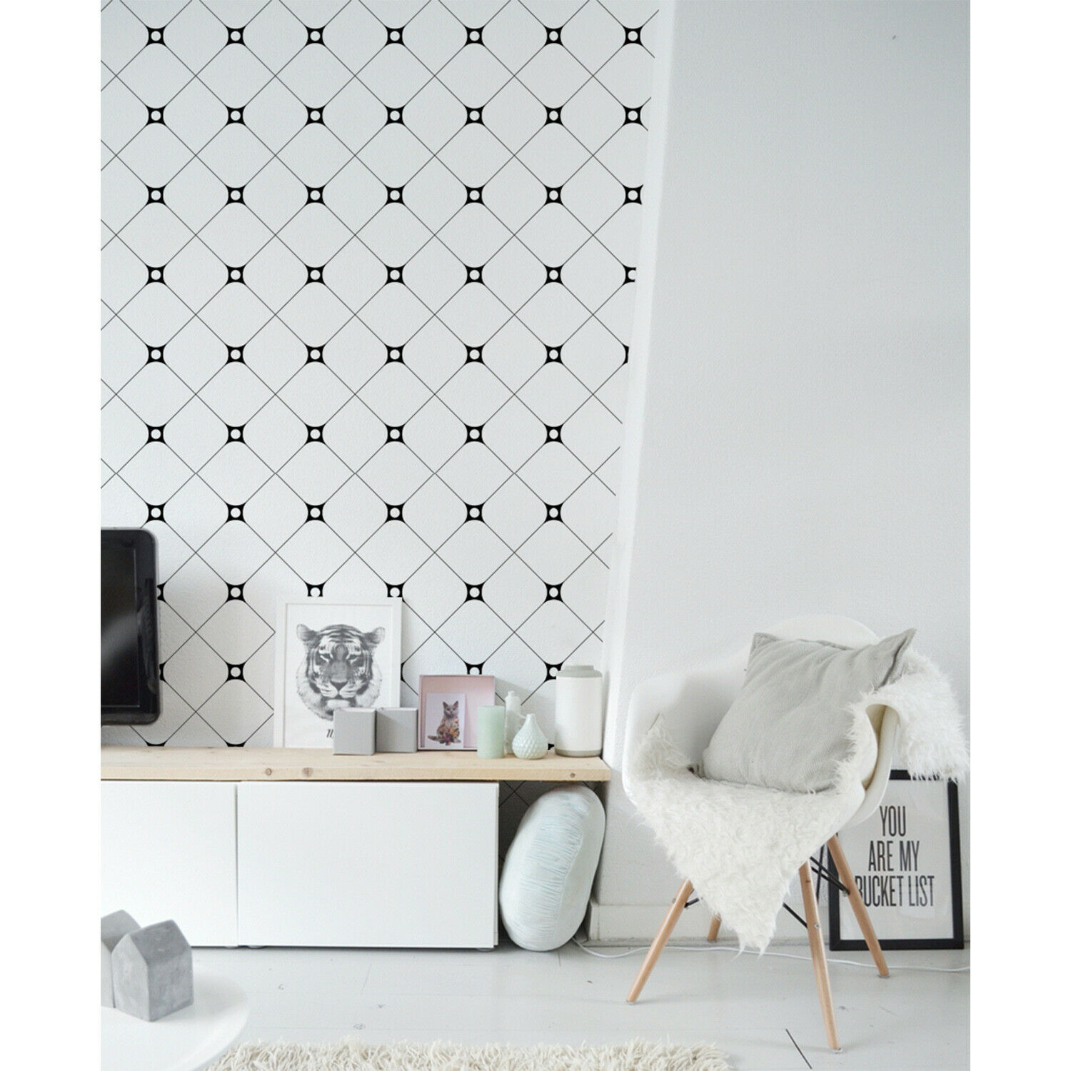 Connected Squares Wallpaper  Wall covering Geometry Pattern wall Home Mural