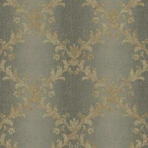 Wallpaper-Taupe-Acanthus-Leaf-Trellis-on-Gray-Silver-Ombre-Stripe