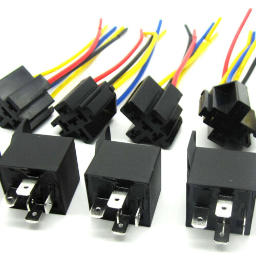 Lot of 5 12 Volt 30//40 Amp SPDT Automotive Relay with Wires /& Harness Socket Hot