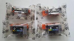 2 X Bci-15 & 2 X Bci-16 Canon Noir & Couleur Cartouches D'encre, Véritable - 4 Total!-afficher Le Titre D'origine