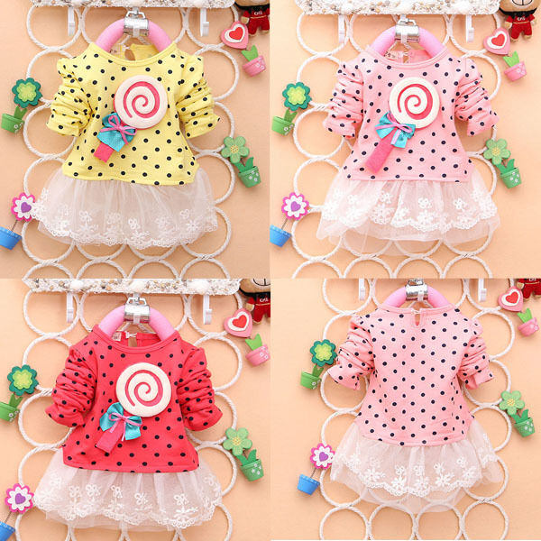 Cute Baby Kid Girl Long Sleeve Lace Dress Lollipop Polka Dot Bow Tutu Dress 2-4Y