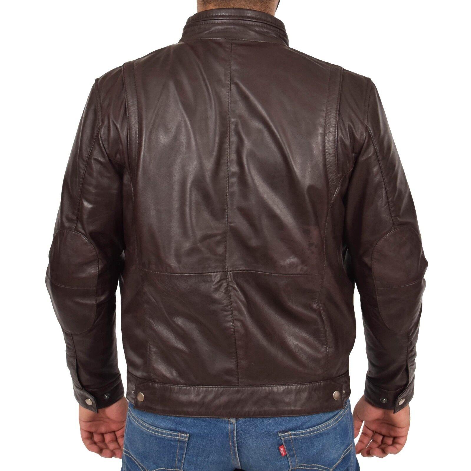 Véritable Souple Cuir Veste Marron Veste Cuir pour homme Style Motard Ajustée Fermeture éclair Décontracté Manteau 21f5a7