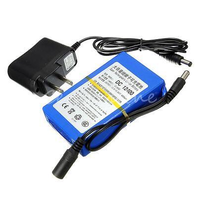 12V DC 4000mAh Super Rechargeable Li-ion Battery Pack +  EU Plug Adapter