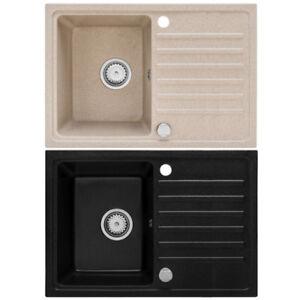 Details zu Spüle Spülbecken GRANIT Küche Einbauspüle 70x45 Schwarz Beige  Neu Design NEXL