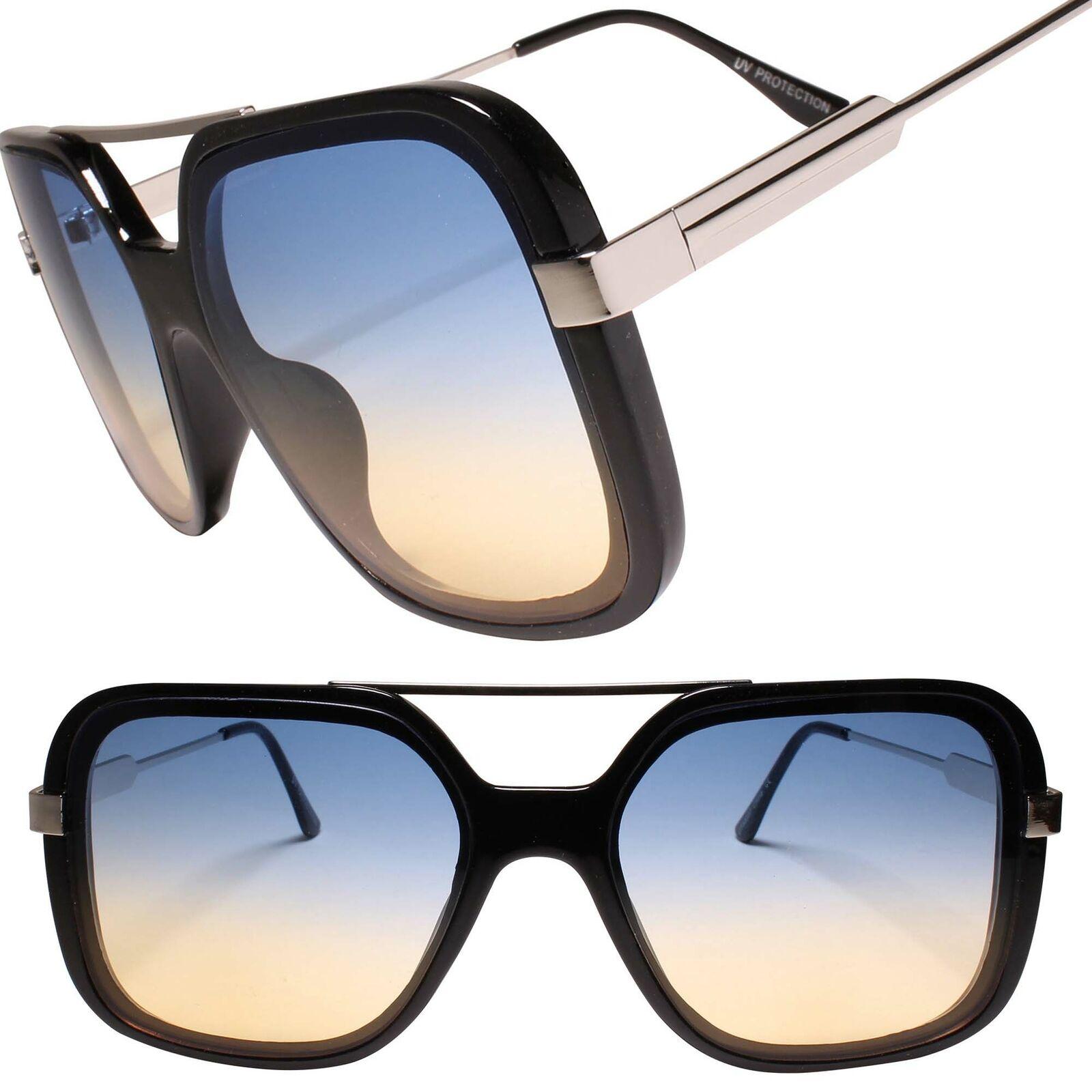 Designer Luxury Oversized XXL Gorgeous Stylish Square Black & Silver Sunglasses