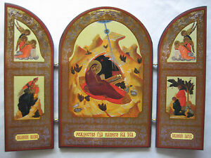 Christmas Iconography.Details About Christmas Triptych Icon The Nativity With Gold Leaf Traditional Iconography