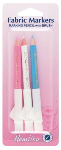 Lápices De Tiza Marcadores de Tela Dobladillo /& Cepillo sastres confección limpie H294.C