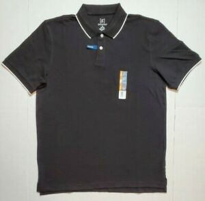 Men-039-s-George-No-Roll-Collar-Stretch-Pique-Polo-Shirt-Golf-M-L-XL-Black-NWT-FAST