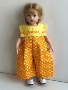 Clothes-for-Helen-Kish-Riley-doll-Long-Romper-Orange-Yellow-Circles