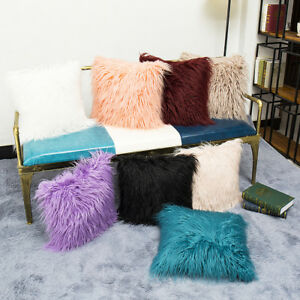 Hot Fluffy Plush Square Pillow Case Sofa Waist Throw Cushion Cover Home Decor