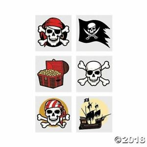 72 PIRATE TEMPORARY TATTOOS PARTY FAVOR VENDING EACH HAS INSTRUCTIONS FREE SHIP