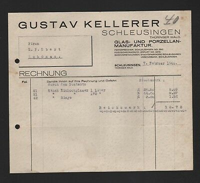 Liberal Schleusingen 2 X Rechnung 1929/40 Gustav Kellerer Reiseandenken-fabrik