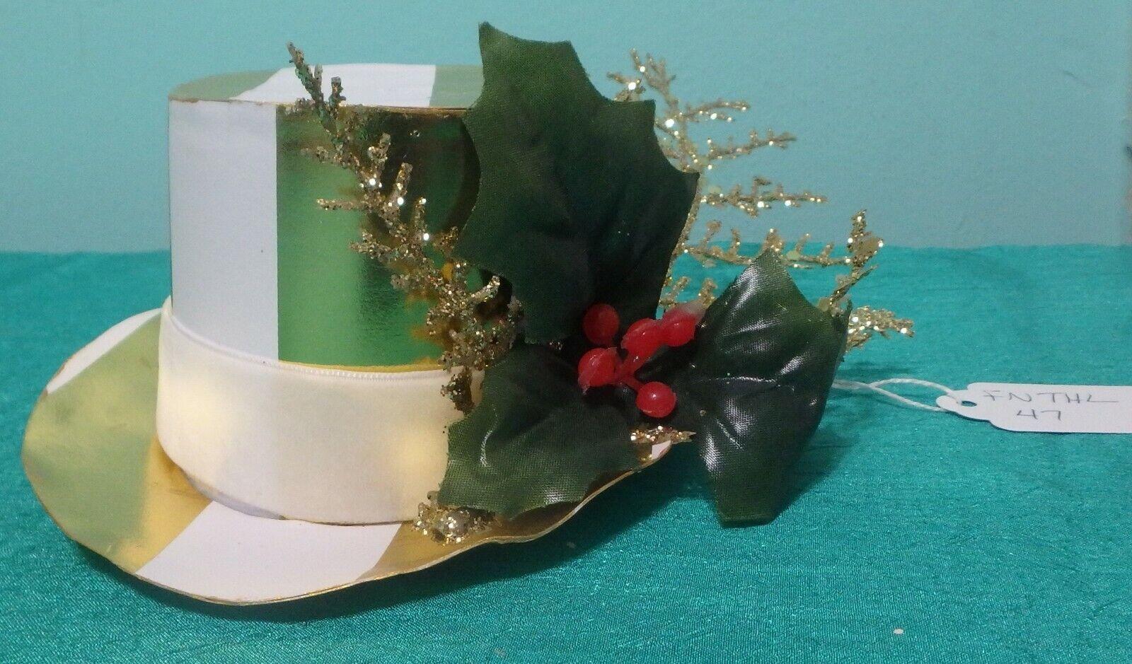 Papel Blanco Y Dorado Fascinator de la Navidad Holly para mujeres chicas grandes muñecas fnthl 47