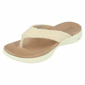 Details about Ladies Natural On The Go Luxe Skechers Slip On Mules Sandals Graceful 15321