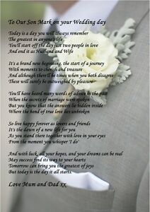 Image Is Loading A4 Poem To Your Son On His Wedding