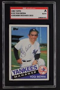 Details About Yogi Berra D2015 Ny Yankees Manager Autograph 1985 Topps 155 Signed Card Sgc