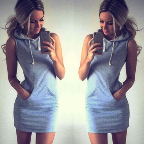 Damen Sommer Boho Ärmellos Minikleid Sweatshirt Tunika Weste Kleid Sundress Tops