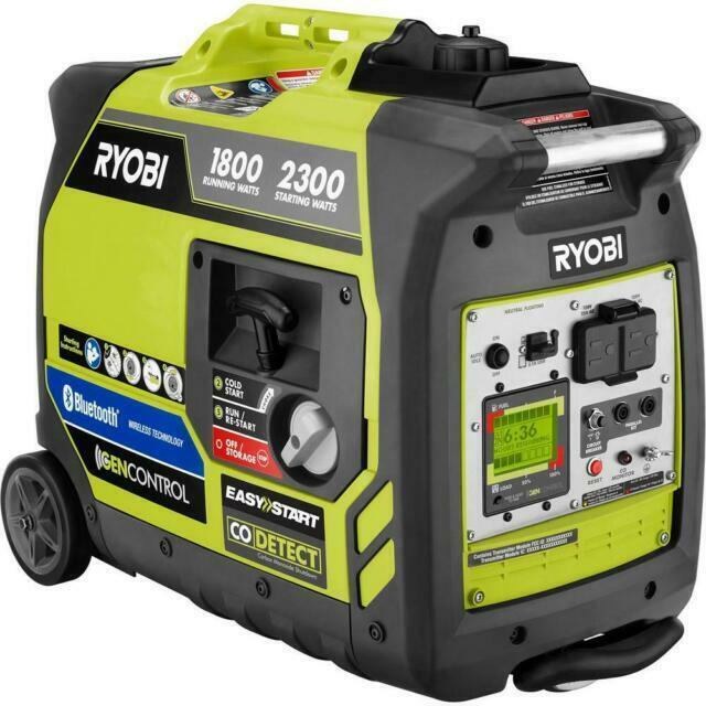 Ryobi Recoil Start Bluetooth Gasoline Powered Digital Inverter Generator with C…