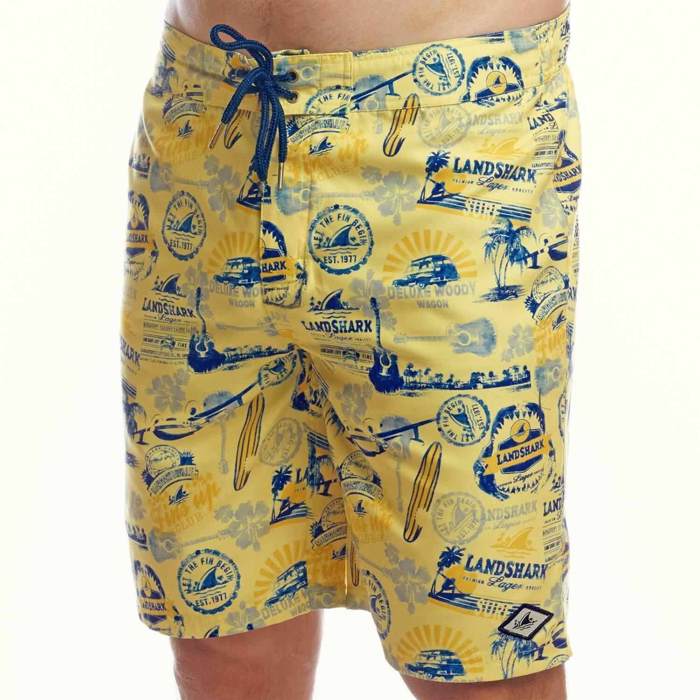 Landshark All-Over Logo Men's Boardshorts Swimsuit Yellow