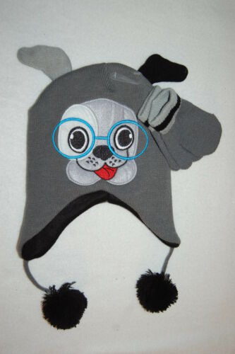 Toddler Boys WINTER HAT /& MITTENS Animal Critter CUTE PUPPY DOG w// GLASSES Gray