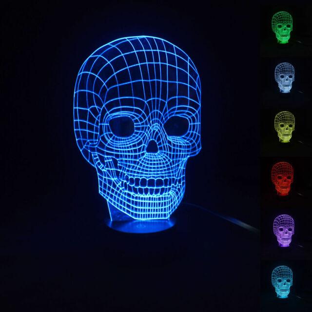 3D Illusion Bulbing Micro USB Table Desk Lamp Skull Lamp LED Night Lights Gift