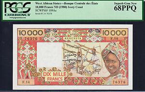 Ivory Coast 10,000 Francs 1980 P-109ac Gem Unc Pcgs 68 Ppq Smart West African States Other African Paper Money