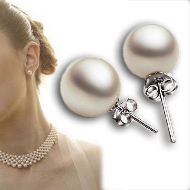 New Fashion 3 Size Women's Real White Freshwater Pearl Ear Stud Earrings Gift