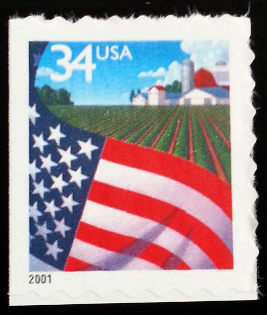2001 34c Flag over Farm, SA Scott 3495 Mint F/VF NH