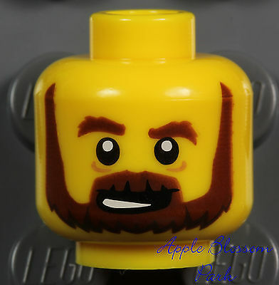 NEW Lego Pirate MINIFIG HEAD w/Brown Beard Moustache - Kingdoms/Castle Knight