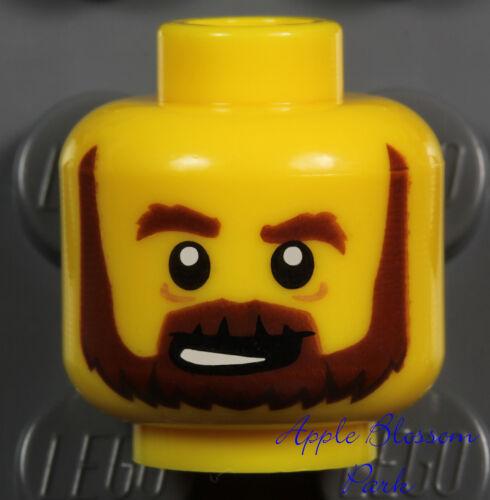 Kingdoms//Castle Knight NEW Lego Pirate MINIFIG HEAD w//Brown Beard Moustache