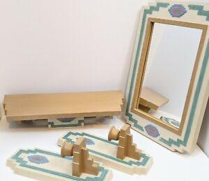 VTG-Home-Interiors-Wall-Decor-Aztec-Mirror-Shelf-Sconces-4-pc-Southwest-Burwood
