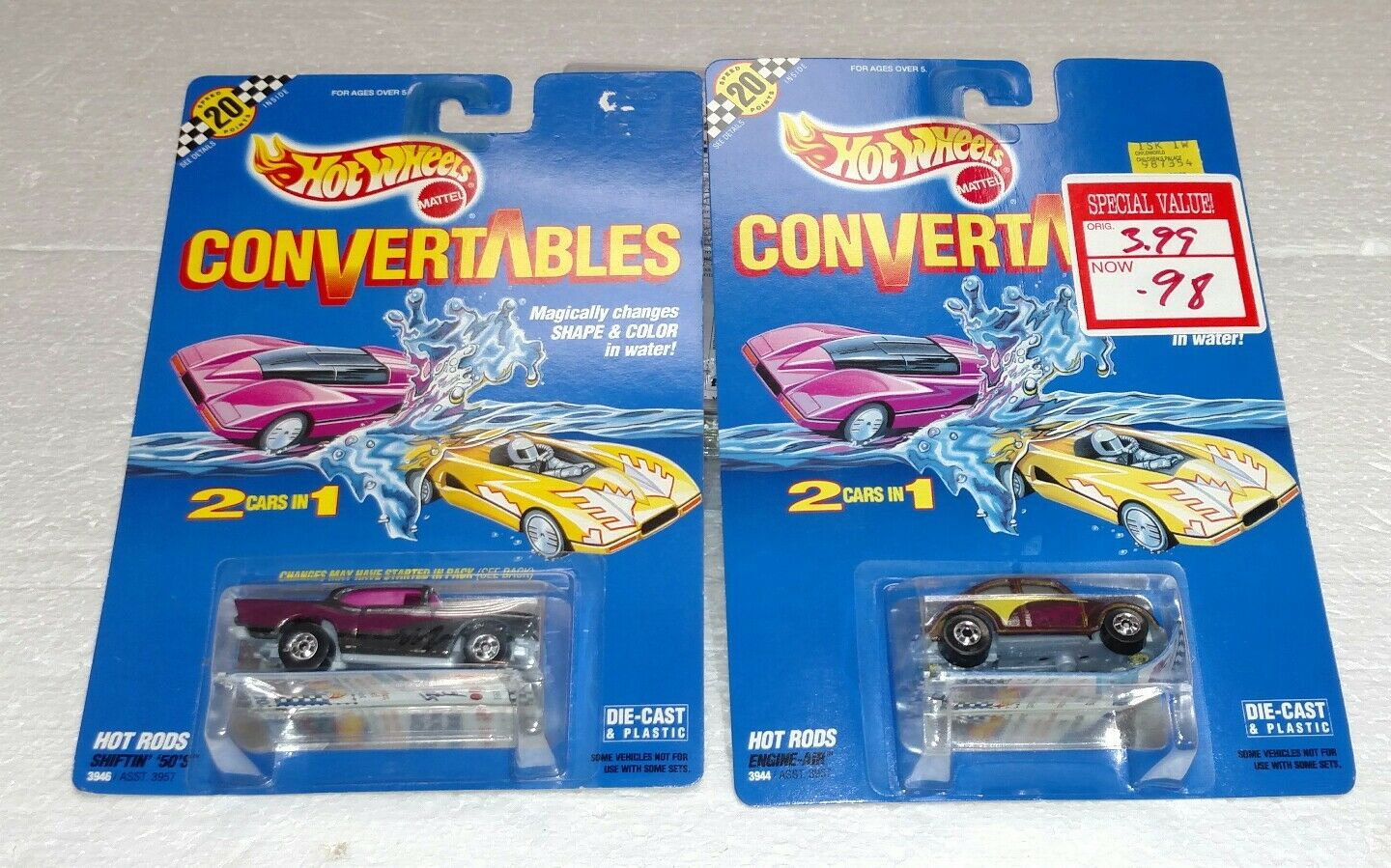 1990 HOT WHEELS CONGrünABLES LOT OF 2  3946 &  3944 VW CHEVY