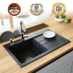 Details about Lavello Black Granite Composite Single Bowl Sink Right  Drainboard Drop In 31\
