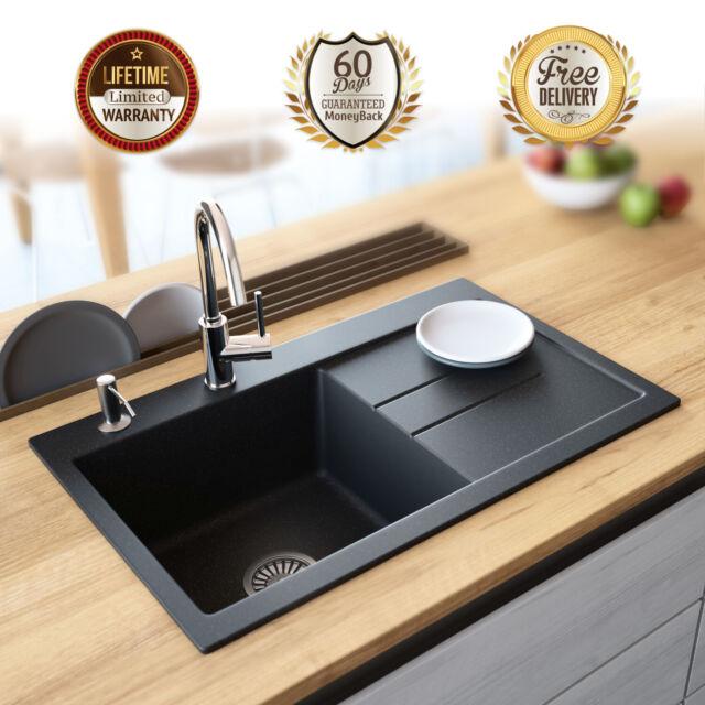 Lavello Black Granite Composite Single Bowl Sink Right Drainboard Drop In  31\