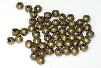 50 Perle Metal Couleur Bronze 4mm Brillant Creation bracelet bijoux collier