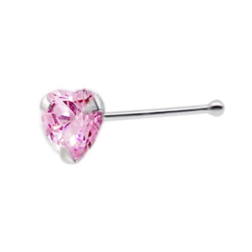 925 S//S nariz hueso con 3mm Pink CZ corazón